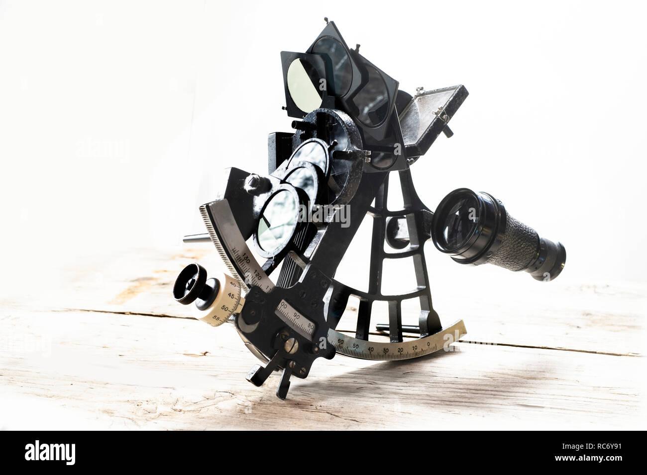 Vintage sextant, an old navigation instrument - Stock Image