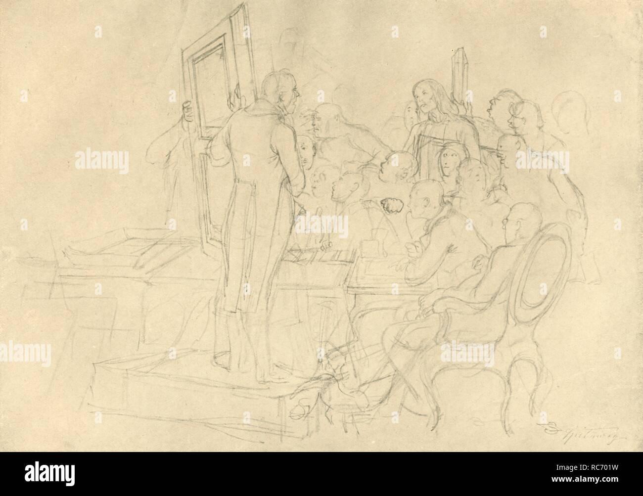 """'Die Kunstauktion', mid-late 19th century, (c1924). From """"Die gute alte Zeit: Zeichnungen von Karl Spitzweg"""", (The Good Old Days: drawings by Karl Spitzweg). [Benjamin Harz, Berlin-Vienna, c1924] - Stock Image"""
