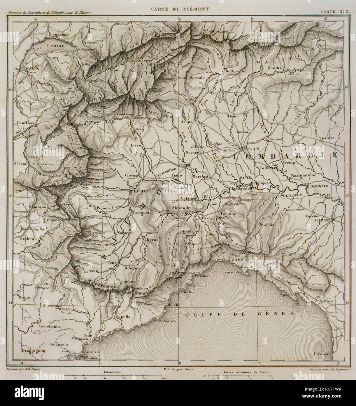 Italy Map 19th Century Stock Photos Italy Map 19th Century Stock