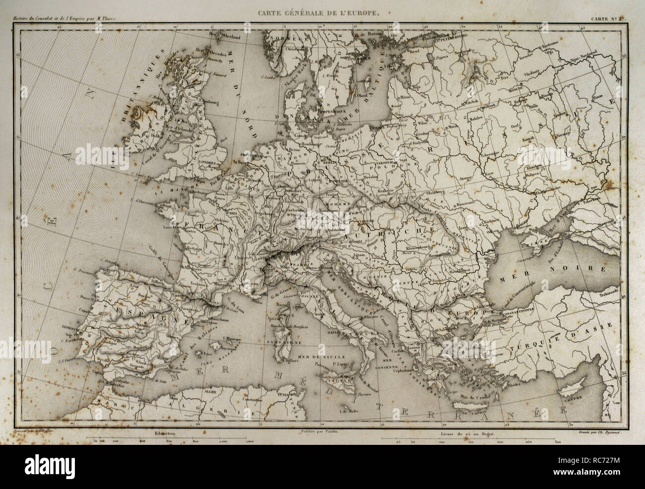 General map of Europe. Atlas de l'Histoire du Consulat et de l'Empire. History of the Consulate and the Empire of France under Napoleon by Marie Joseph Louis Adolphe Thiers (1797-1877). Drawings by Dufour, engravings by Dyonnet. Edited in Paris, 1864. - Stock Image