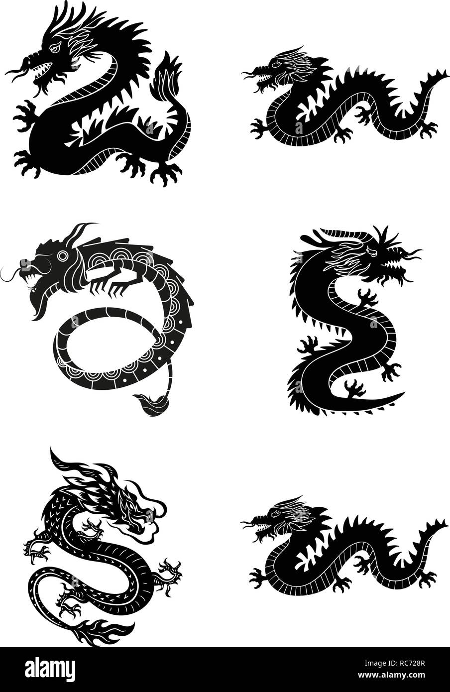 8b5ba02c17c6c Wild black dragons for tattoo or mascot design - Vector,.Black flying  dragons with carved wings in tribal style isolated on white background for  tatto