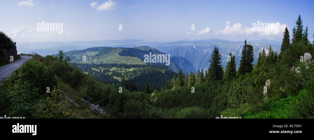 The Durmitor Mountains is a massif in northwestern Montenegro, a part of the Dinaric Alps. Bobotov Kuk, the highest peak of it, reaches a height of 2, - Stock Image