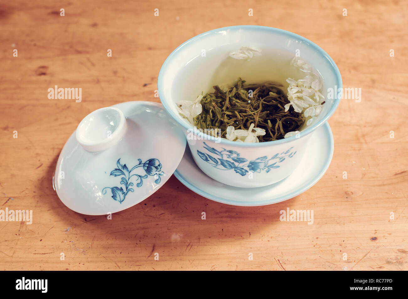 tea cup on a wooden table close-up view - Stock Image