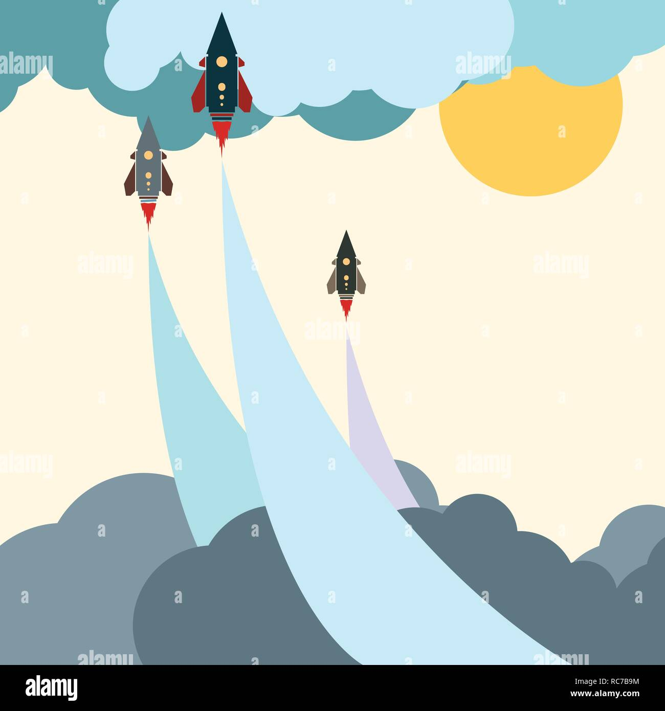 Colored art cartoon rocket jet power start in cloud sky and space. - Stock Vector