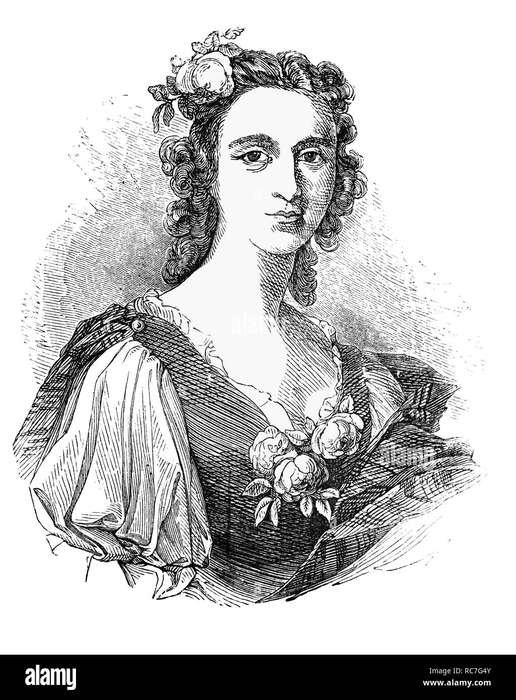 """A portrait of Flora MacDonald, who helped Charles Edward Stuart (1720-1788) aka  """"The Young Pretender"""", """"The Young Chevalier"""" and in popular memory as """"Bonnie Prince Charlie"""", escape to the Isle of Skye by taking him, disguised as her Irish maid, """"Betty Burke"""", in a small boat. The flight of has become the stuff of legend and is commemorated in the popular folk song """"The Skye Boat Song"""". Stock Photo"""
