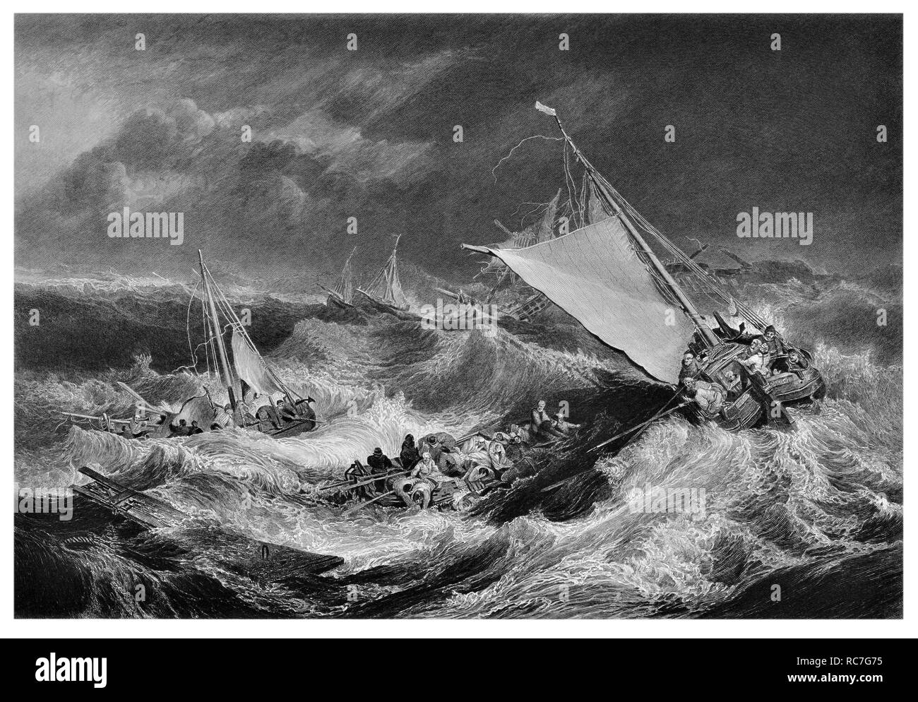 J.M.W Turner The shipwreck engraved by W. Miller - Stock Image