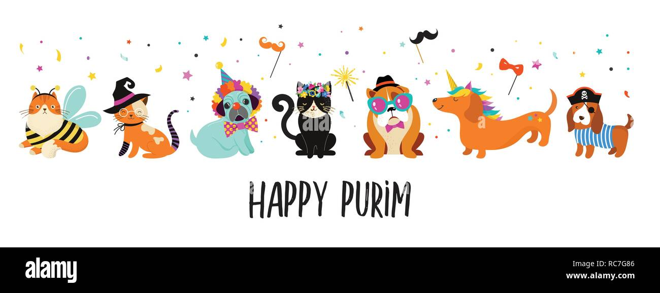 Funny Animals Pets Cute Dogs And Cats With A Colorful Carnival Costumes Vector Illustration Happy Purim Banner Stock Vector Image Art Alamy