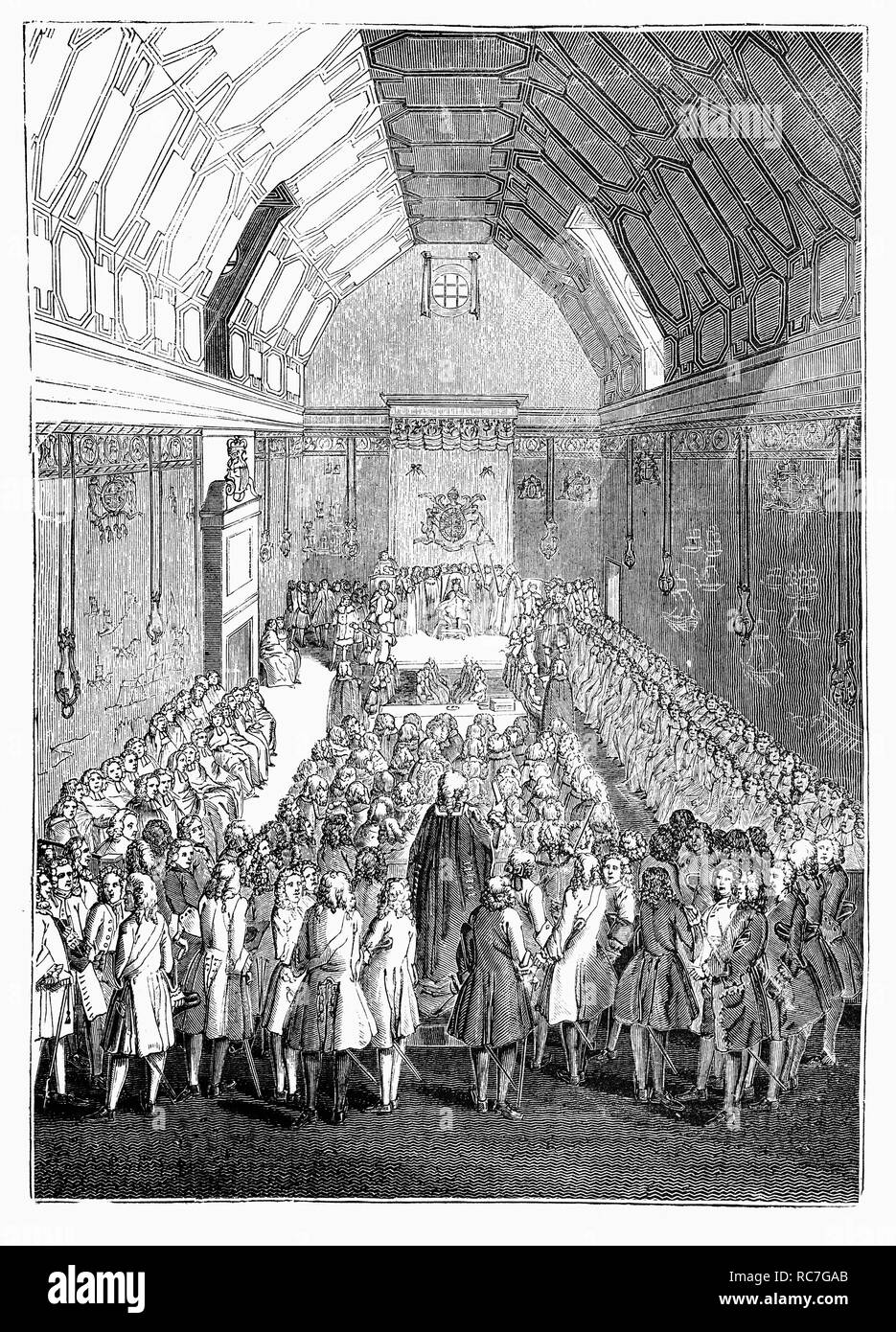 The House of Lords, during the reign of King George II. Like the House of Commons, it meets in the Palace of Westminster, but was more powerful than the House of Commons. The Lower House continued to grow in influence, reaching a zenith during the 17th century, when following the English Civil War, the House of Lords was reduced to a largely powerless body. On 19 March 1649, the House of Lords was abolished by an Act of Parliament. After the Convention Parliament met in 1660 and the monarchy was restored, it again became the more powerful chamber of Parliament, until the 19th Century. - Stock Image