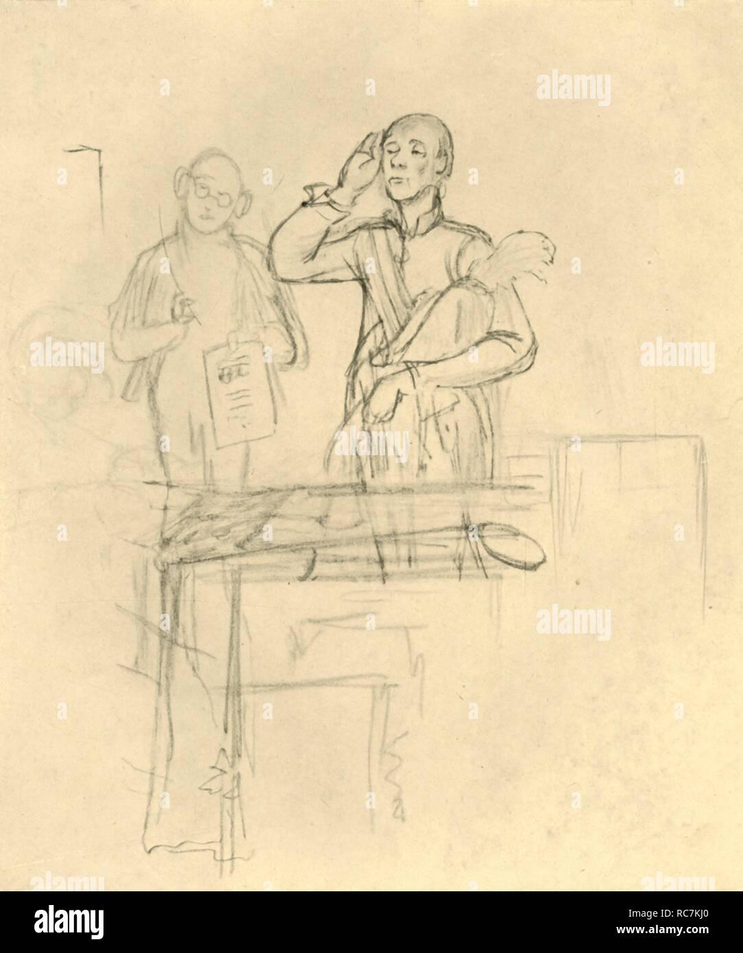 """'Die Meldung', mid-late 19th century, (c1924). 'The announcement'. From """"Die gute alte Zeit: Zeichnungen von Karl Spitzweg"""", (The Good Old Days: drawings by Karl Spitzweg). [Benjamin Harz, Berlin-Vienna, c1924] - Stock Image"""