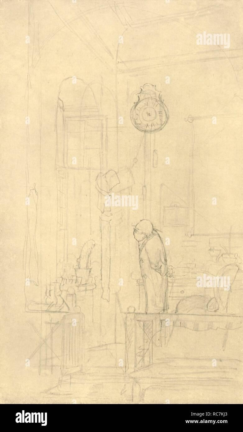 """'Der Kaktusfreund', mid-late 19th century, (c1924). 'The cactus friend'. From """"Die gute alte Zeit: Zeichnungen von Karl Spitzweg"""", (The Good Old Days: drawings by Karl Spitzweg). [Benjamin Harz, Berlin-Vienna, c1924] - Stock Image"""