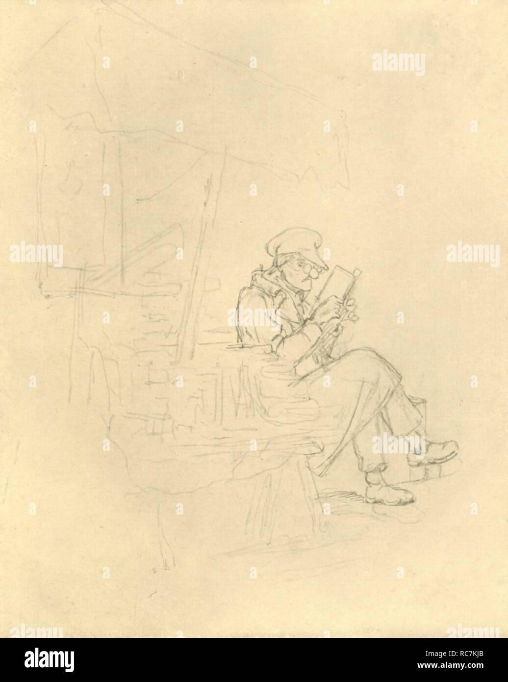 """'Der Antiquar', mid-late 19th century, (c1924). 'The antiquarian'. From """"Die gute alte Zeit: Zeichnungen von Karl Spitzweg"""", (The Good Old Days: drawings by Karl Spitzweg). [Benjamin Harz, Berlin-Vienna, c1924] - Stock Image"""