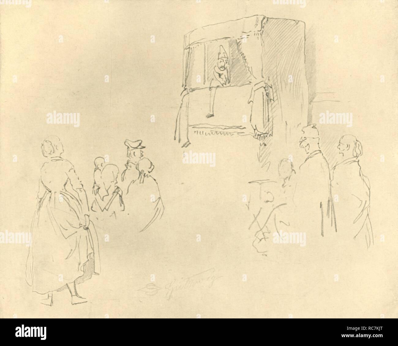 """'Kasperltheater I', mid-late 19th century, (c1924). Punch and Judy show. From """"Die gute alte Zeit: Zeichnungen von Karl Spitzweg"""", (The Good Old Days: drawings by Karl Spitzweg). [Benjamin Harz, Berlin-Vienna, c1924] - Stock Image"""