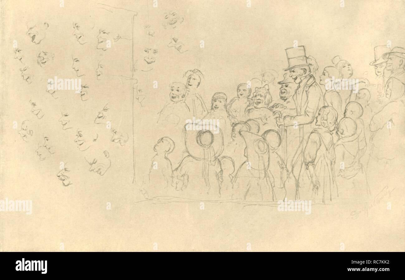 """'Kasperltheater II', mid-late 19th century, (c1924). Punch and Judy show. From """"Die gute alte Zeit: Zeichnungen von Karl Spitzweg"""", (The Good Old Days: drawings by Karl Spitzweg). [Benjamin Harz, Berlin-Vienna, c1924] - Stock Image"""