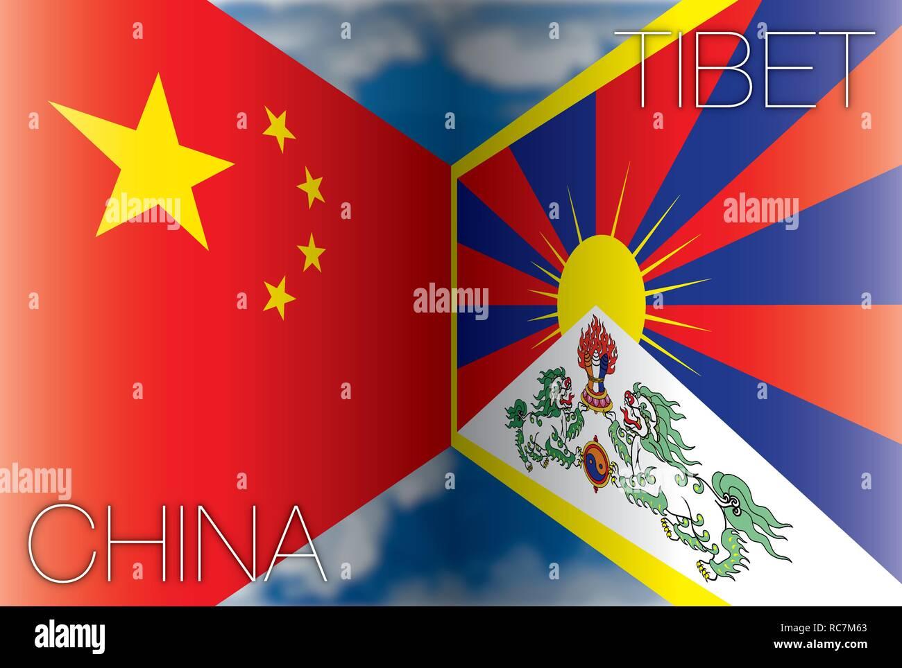 China versus Tibet flags, vector illustration - Stock Vector