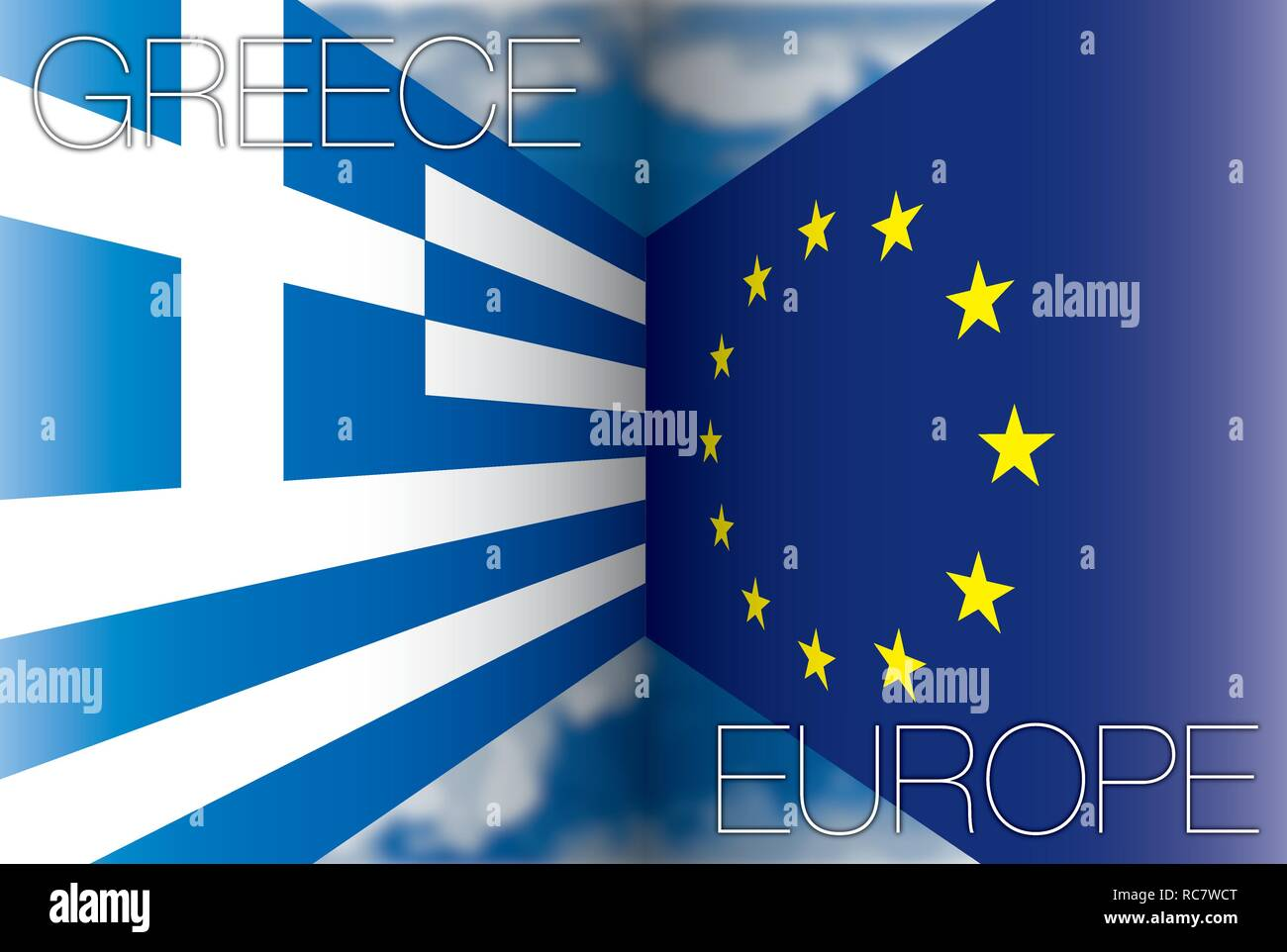 Greece versus European Union flags, vector illustration - Stock Image