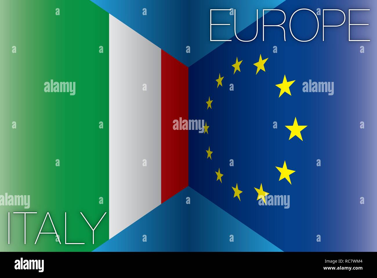 Italy versus European Union flags, vector illustration - Stock Image