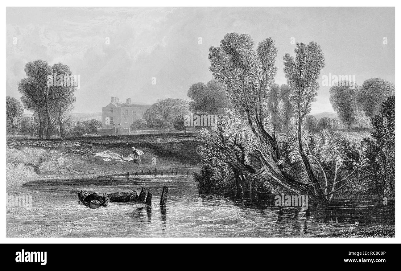 J.M.W Turner On the Thames engraved by R. Wallis - Stock Image