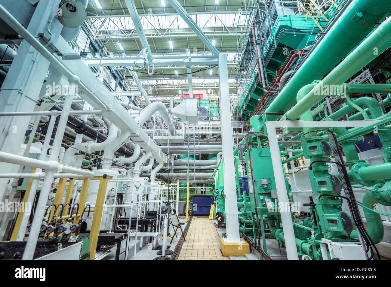 View of turbine hall in nuclear power station - Stock Image