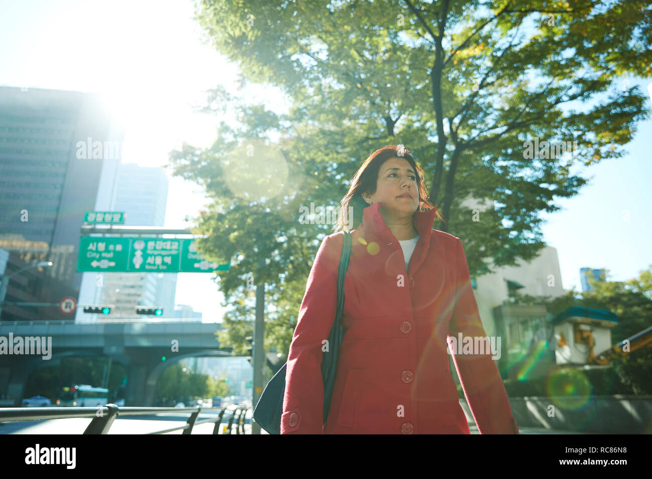 Businesswoman exploring city, Seoul, South Korea - Stock Image
