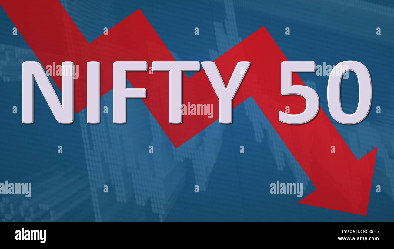 The stock market index NIFTY 50, National Stock Exchange of India, is falling. The red zig-zag arrow behind the word NIFTY 50 on a blue background... - Stock Image