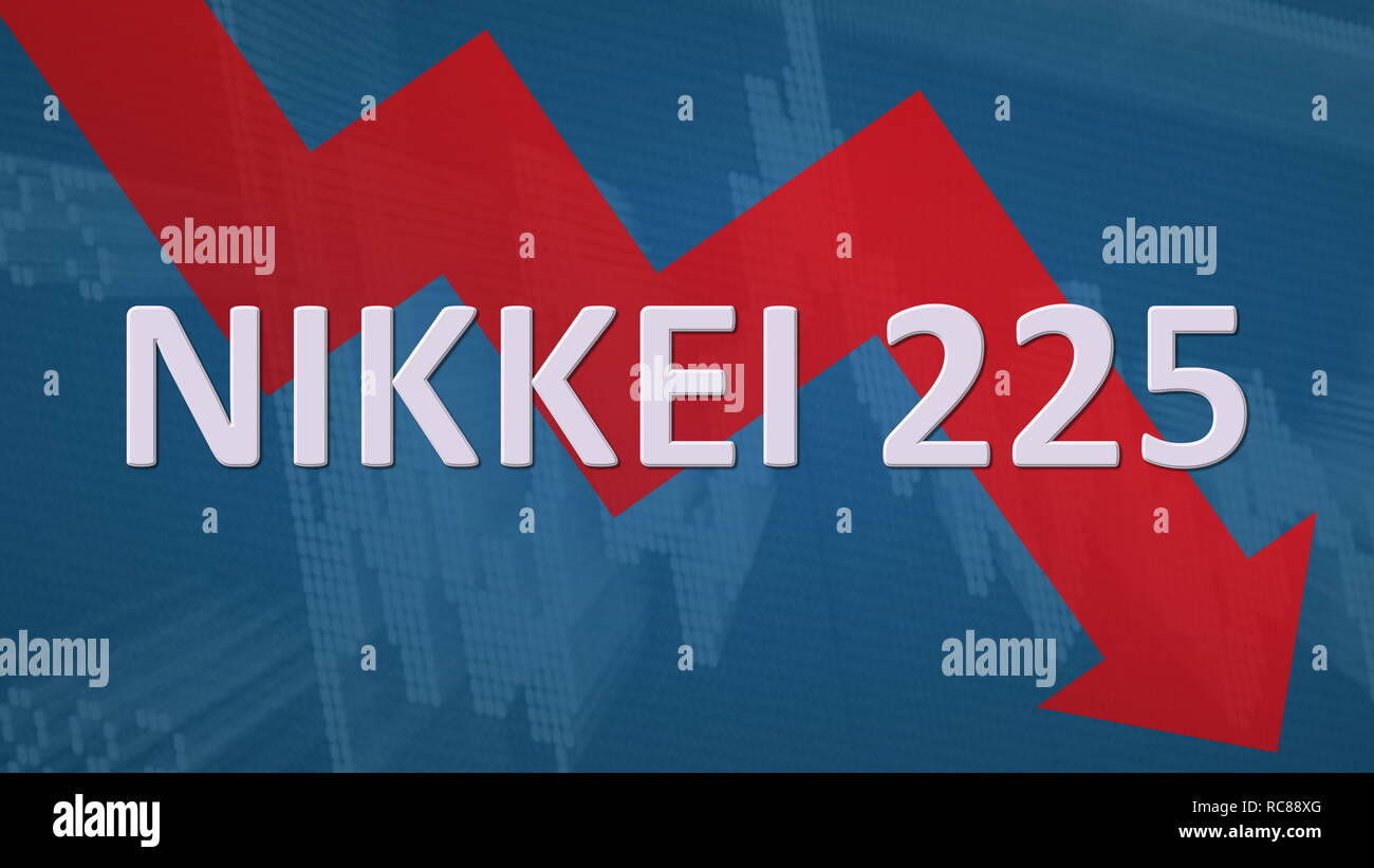 The Japanese stock market index Nikkei 225 is falling. A red zig-zag arrow behind the word Nikkei 225 on a blue background with a chart shows downward... Stock Photo
