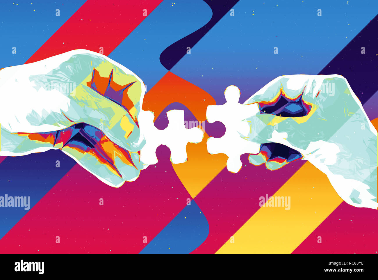 Hands With Two Puzzle Pieces Abstract Background Modern