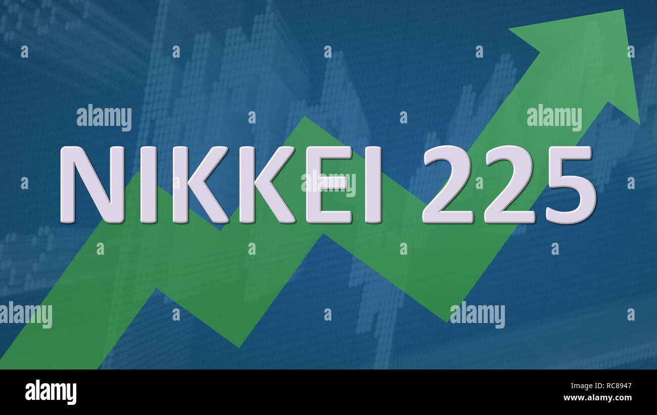 The Japanese stock market index Nikkei 225 is going up. A green zig-zag arrow behind the word Nikkei 225 on a blue background with a chart shows... Stock Photo