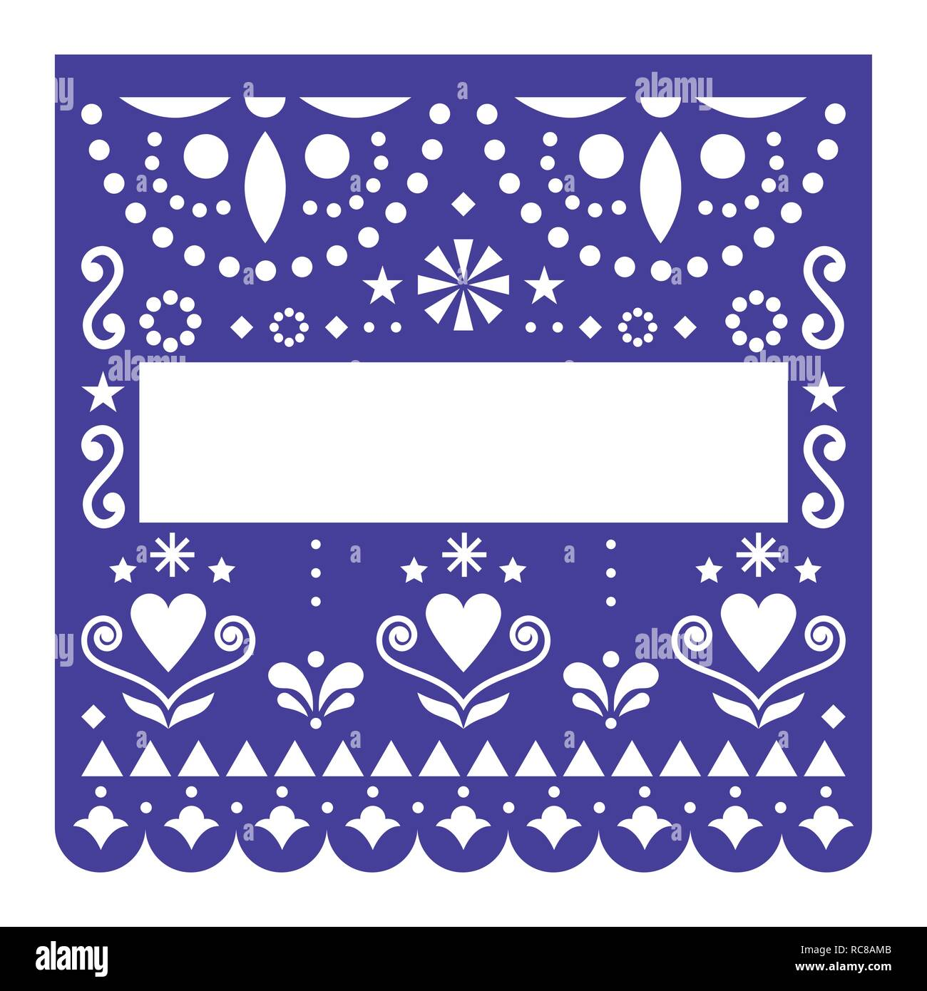 Papel Picado template vector design, Mexican happy navy blue paper fiesta decoration from Mexico with flowers and geometric pattern. Cut out design - Stock Image