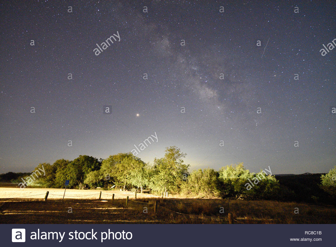 Mars and Milky Way over Texas. Mars and Milky Way in Fredericksburg, Texas in the Texas Hill Country. Stargazing in Texas. Texas Dark Sky. Dark Skies - Stock Image