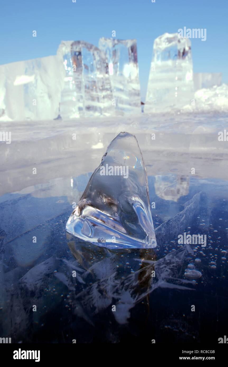 Ice formations, Olkhon island, Lake Baikal, Siberia, Russia, Eurasia - Stock Image