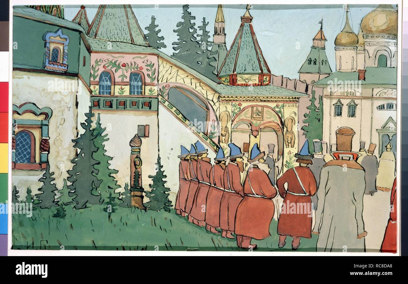Illustration for the Fairy tale The Feather of Finist the Falcon. Museum: State Tretyakov Gallery, Moscow. Author: BILIBIN, IVAN YAKOVLEVICH. - Stock Image