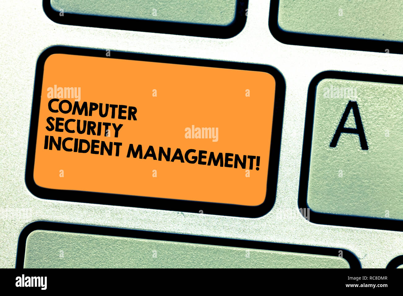Handwriting text Computer Security Incident Management. Concept meaning Safe cyber technology analysisaging Keyboard key Intention to create computer  - Stock Image
