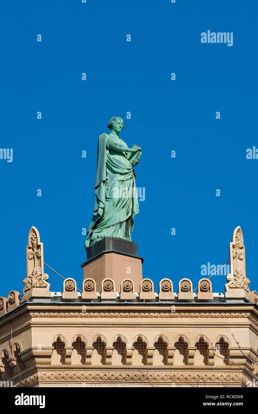 Figure Sapentia wisdom on the building, Government of Upper Bavaria, Munich, Upper Bavaria, Bavaria, Germany - Stock Image
