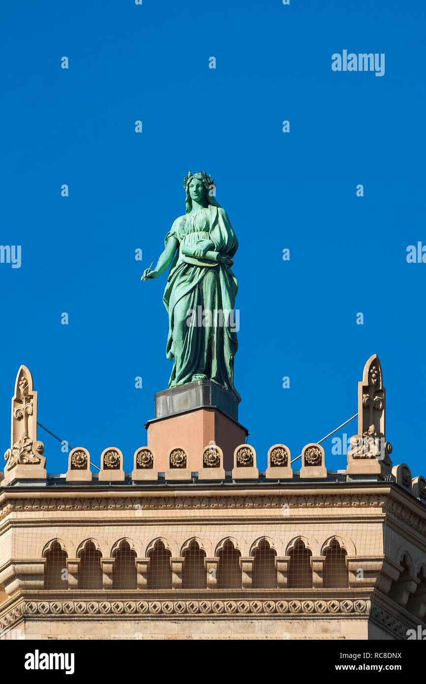 Figure Fides loyalty, on the building of the Government of Upper Bavaria, Munich, Upper Bavaria, Bavaria, Germany - Stock Image