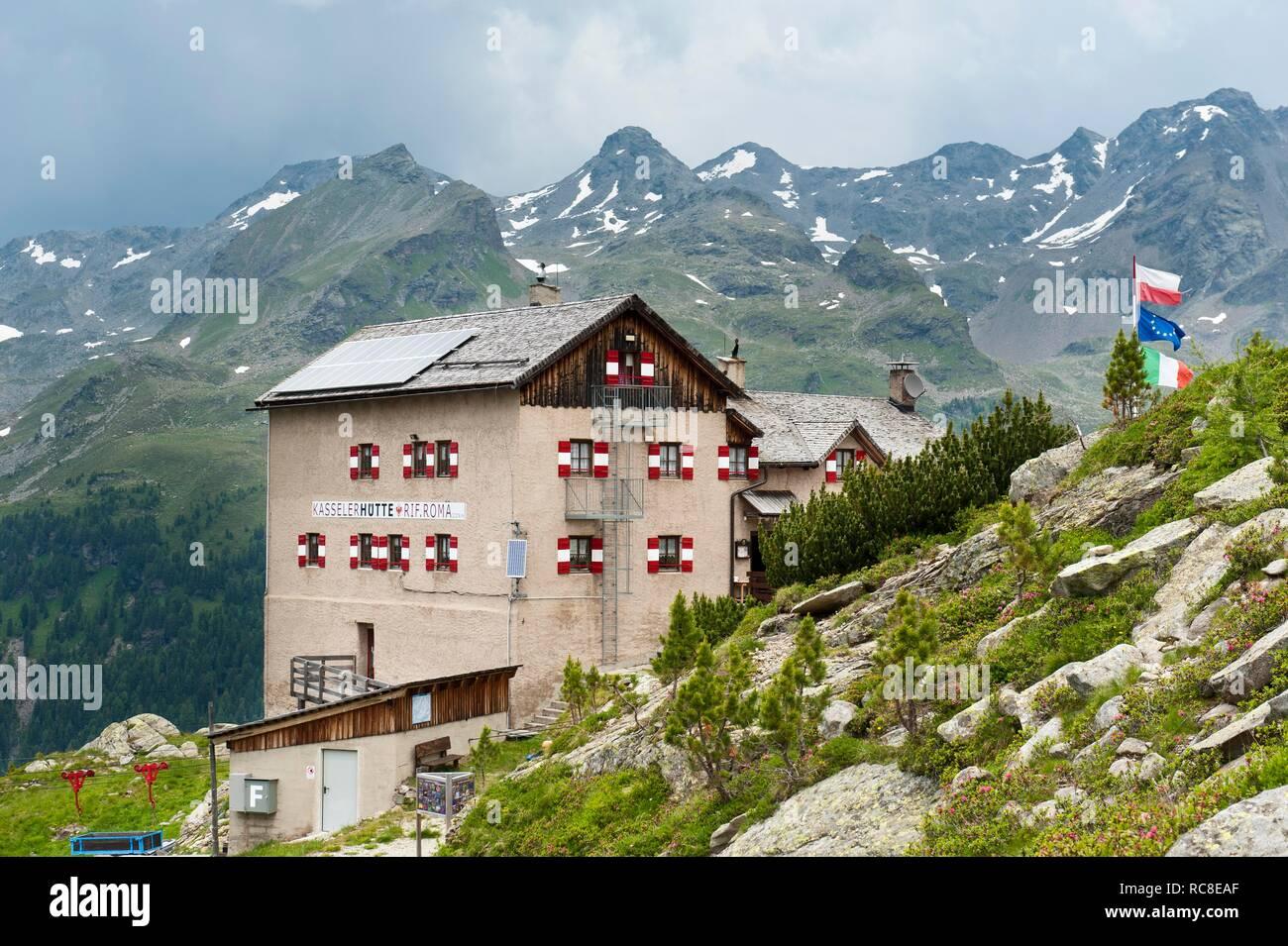 Mountain hut, Kassel hut, Rifugio Roma alla Vedrette di Ries, Rieserferner group, near Rein in Taufers, Riva di Tures, Pustertal - Stock Image