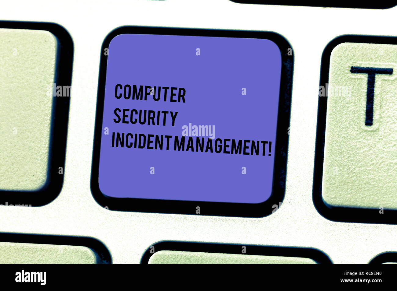 Writing note showing Computer Security Incident Management. Business photo showcasing Safe cyber technology analysisaging Keyboard key Intention to cr - Stock Image
