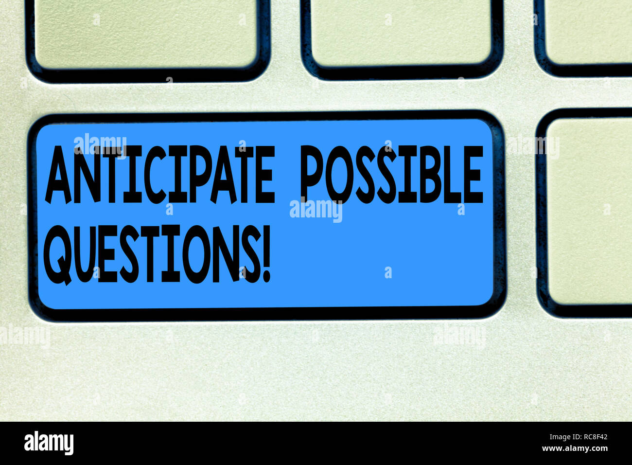 Handwriting text Anticipate Possible Questions. Concept meaning Expect or look forward for an interrogation Keyboard key Intention to create computer  - Stock Image