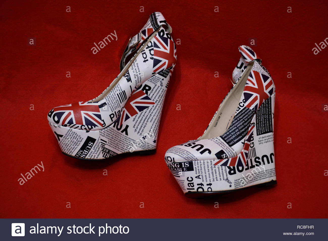 Platform Shoes. High 6 inch wedge heels. Womens high heel platform shoes. Platform heels with British Union Jack. Very tall high heels. Six inch heels - Stock Image