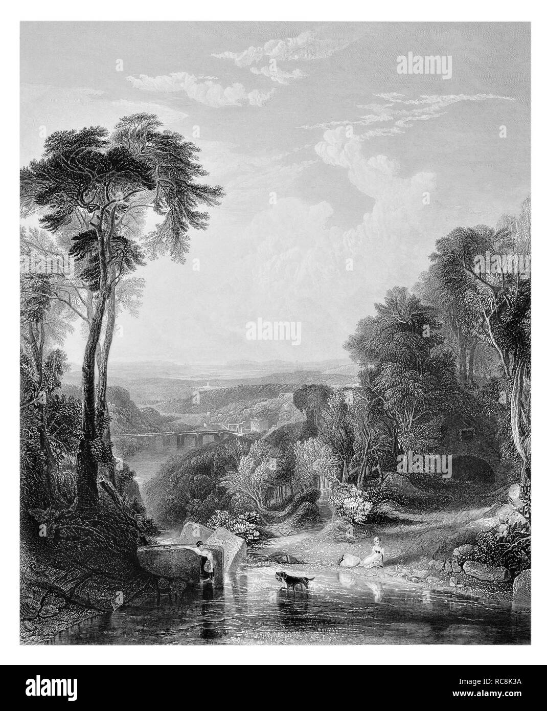 J.M.W Turner Crossing the brook engraved by W. Richardson - Stock Image