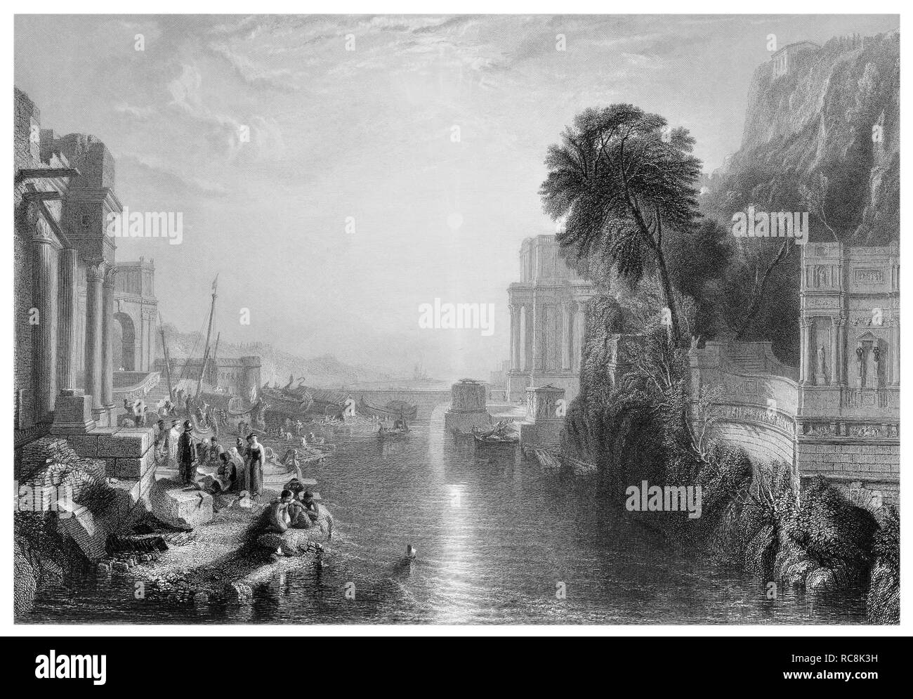 J.M.W Turner Didi building Carthage engraved by E. Goodall - Stock Image