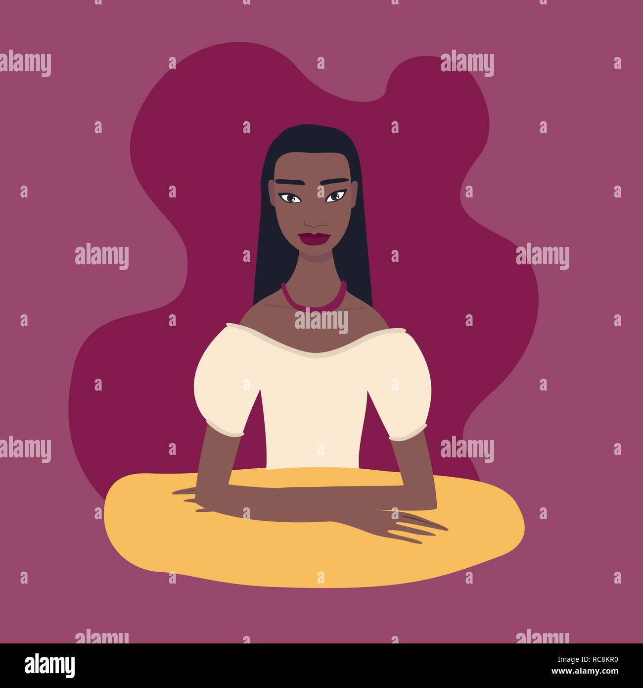 Pretty young exotic ethnicity mixed race woman sitting at table - Stock Vector