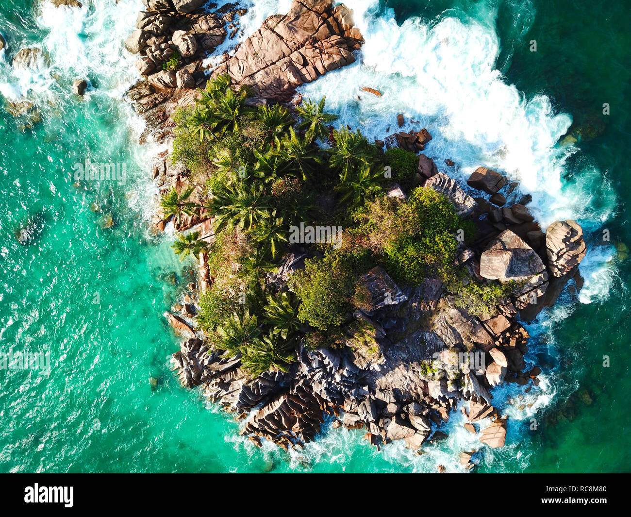 Photo of a tropical island of the Seychelles called 'St. Piere Island' taken with a drone - Stock Image