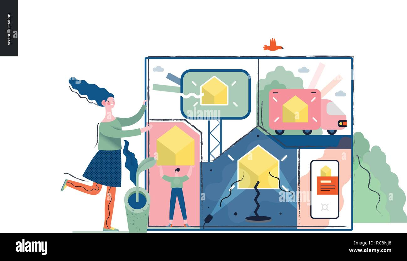 Technology 1 -Marketing and Promotion modern flat vector concept digital illustration marketing metphor, company brand promotion. Business workflow ma - Stock Image