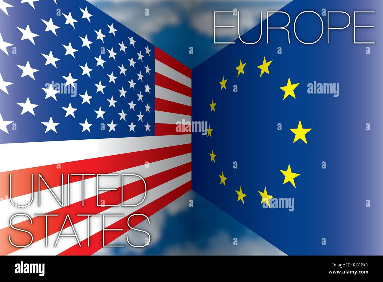United States versus European Union flags, vector illustration - Stock Image