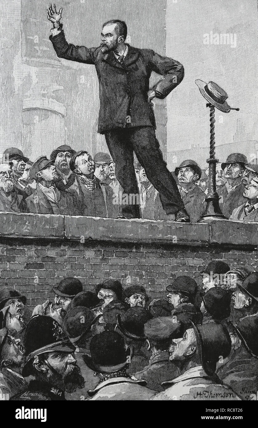 United Kingdom. London. Socialist meeting. Engraving by H. Thomson. 19th century. - Stock Image