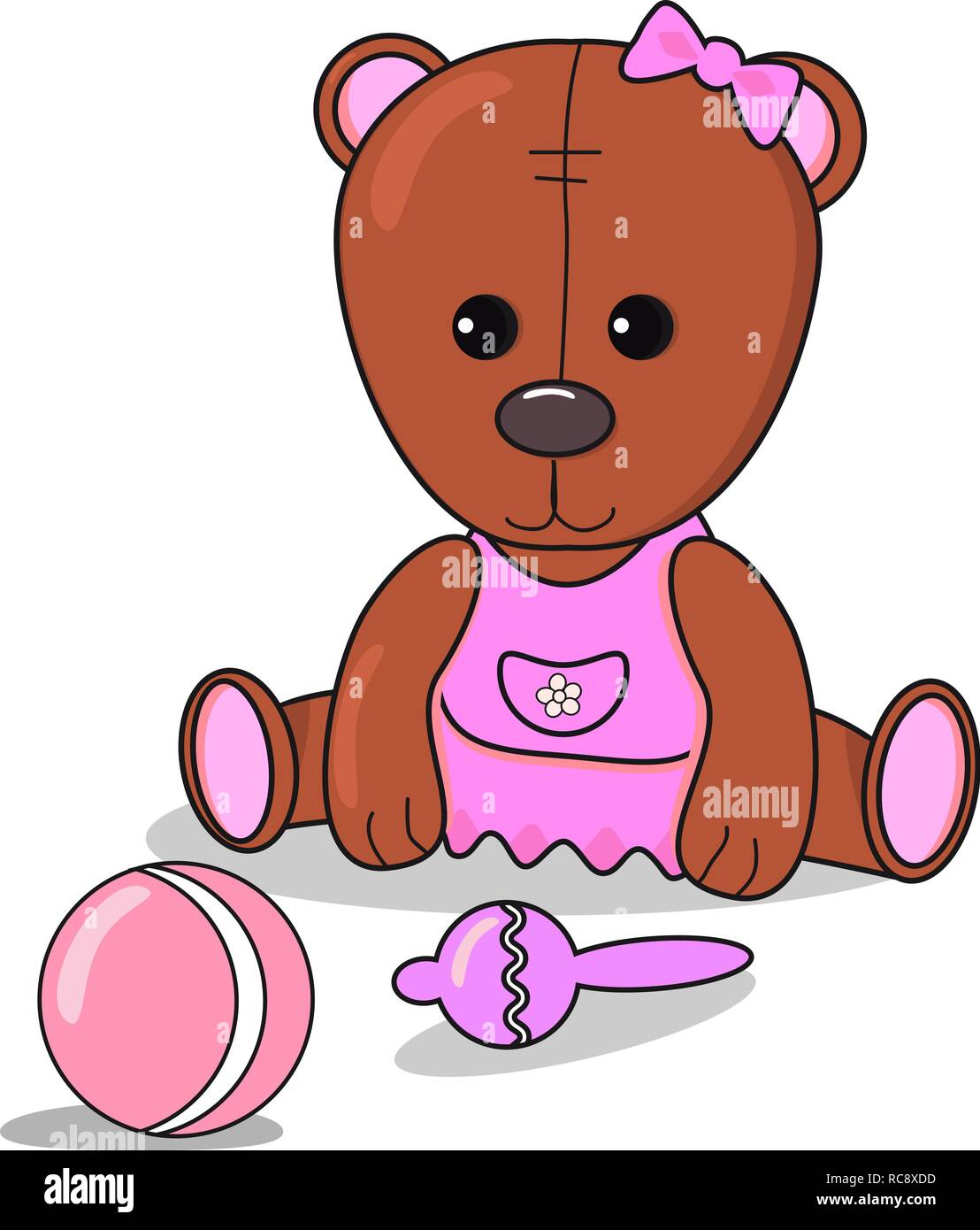 Little Teddy bear with beanbag , ball, Baby announcement metric for girl. card brown and pink color. nursery decor - Stock Vector