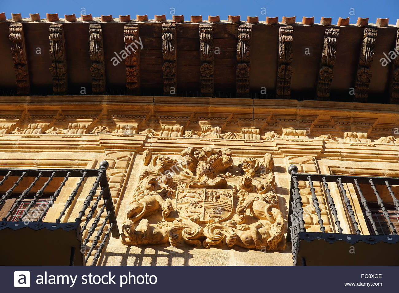 Artistic decorated balcony and facade of house in Labastida in basque country, spain - Stock Image