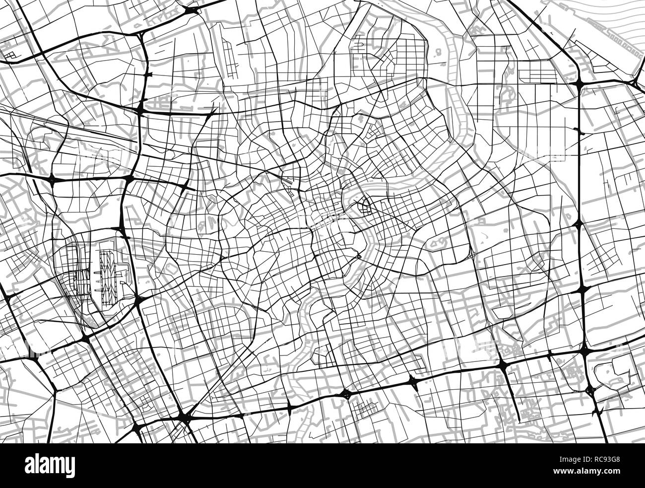 Area map of Shanghai, China. This artmap of Shanghai contains geography lines for land mass, water, major and minor roads. - Stock Vector