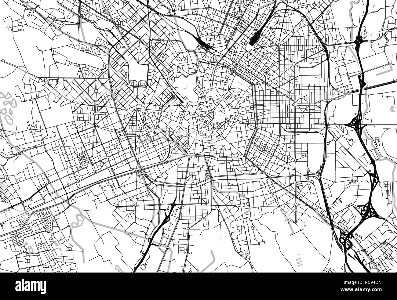 Area map of Milan, Italy. This artmap of Milan contains geography lines for land mass, water, major and minor roads. - Stock Vector