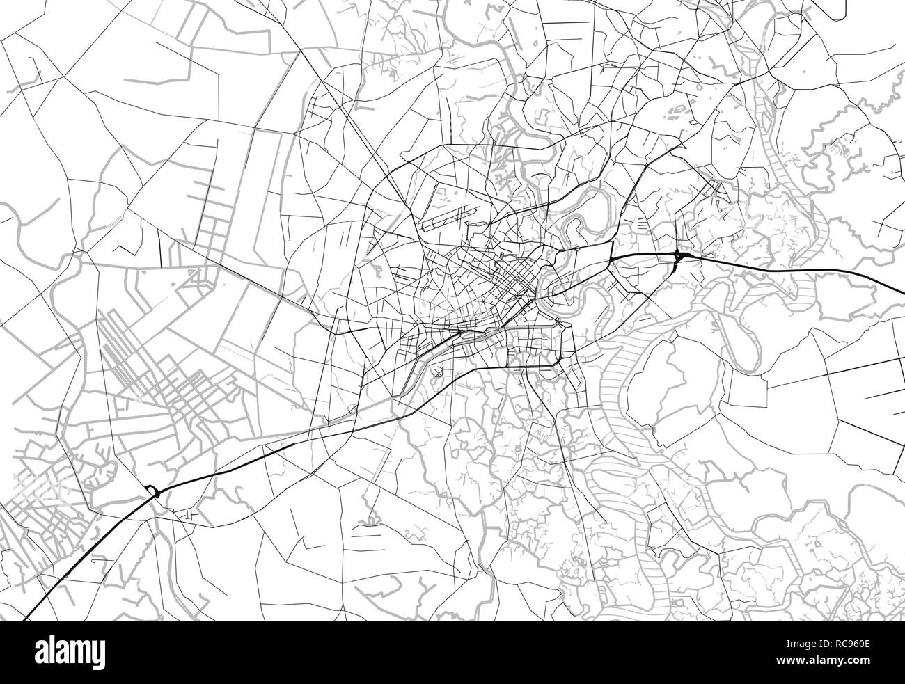 Area map of Ho Chi Minh City, Vietnam. This artmap of Ho Chi Minh City contains geography lines for land mass, water, major and minor roads. - Stock Vector